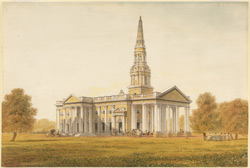 St George's Cathedral, Madras, with carriages arriving at the door
